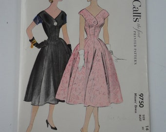 Vintage Unused Uncut McCall's first Printed Pattern 9750 Misses' Dress Size 14 Bust 32 Made in USA 1954 McCall's Dress Pattern
