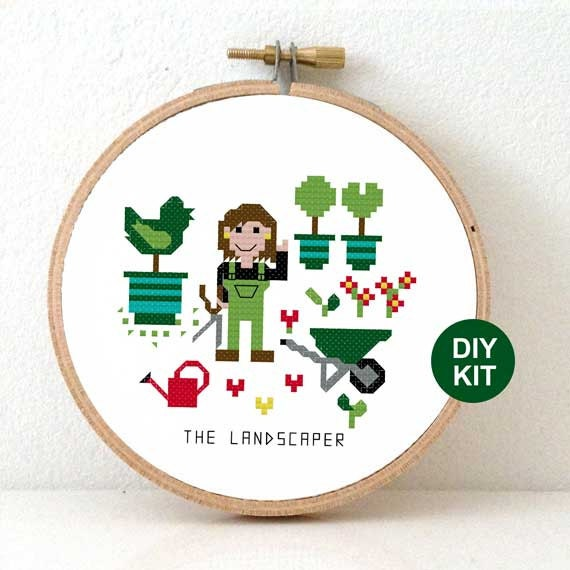 Cross stitch kit for beginners diy gift for landscaper landscaper gift greenhouse decoration - Tuinman fiber ...
