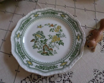 Vintage Mason's-Manchu Pattern-Dinner Plate/Dish/Table/Serving-England-Green Trim/Yellow Floral