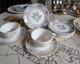 8 Pieces-Gorgeous Vintage Gold Filigree Laden Floral Fruit Basket Wheat Spray Design Teacup/Coffee/Saucers/Dessert Plates