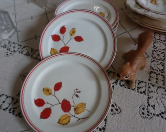 Very Rare TST-Taylor Smith Taylor Autumn-Red/Yellow Leaves/Platinum/Red Trim-Dessert Plates