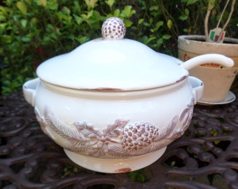 Vintage Christmas Holiday Cracker Barrel-White Pine Collection-Large Soup Tureen and Ladle-White with Embossed Pinecones