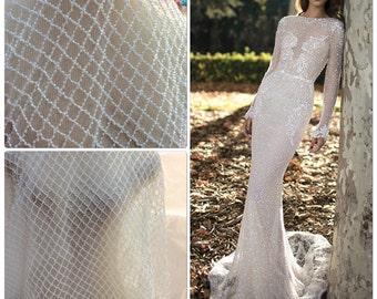 White/ light ivory Beaded Lace, Beaded Bridal Lace Fabric, Bridal Lace, Beaded Lattice Fabric (C7)
