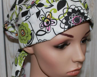 Beyond Backyard Daisy,Scrub Hat, Pleated with tie back band,Women's Surgical Scrub Hat