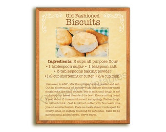 "INSTANT DOWNLOAD~Old Fashioned BISCUITS Recipe, 8""x10"" Retro Look, Home Decor,  Wall Art, Digital, Instant Printable, Parchment #103"