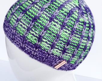 Hand Dyed, Reversible Hat, Hand Knit Hats, Women's Hats, Men's Hats, Winter Hats, Merino Wool, Organic, Knit Beanies, Green, Purple