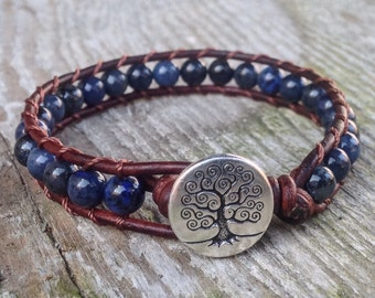 blue dumortierite beaded leather wrap bracelet with tree for third eye chakra unisex for men and women