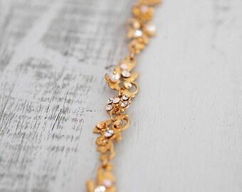 Gold Crystal Bridal Crown, Crystal Bridal Headwrap, Bridal Circlet, Boho Bridal Crown, Boho Bridal Headpiece