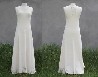 Cream white maxi dress, keyhole back, organic cotton jersey, organic woman's clothing, Solmode