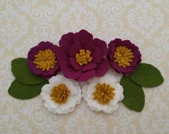 Handmade Wool Felt Flowers Berry, Mustard and White