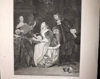 Audouin after Metsu 1818 Antique Print. La Musicienne Hollandoise. Music