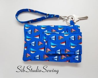 "Sailboats Smartphone Wristlet, Fits iPhone 6, Smartphones up to 5.75"" x 3.5"",  Blue Sailboats Cell Phone Pouch, Key Ring, Pocket"