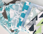 Fabric Scraps Bundle, Peacock Feathers, ikat, starfish, lyon, Turquoise Blue Brown White Green,  Home Decor Premier Prints REMNANT CUTS
