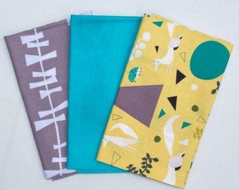 Three Fat Quarter Cuts Glimma Drake Lotta Jansdotter, Lizzy House Outfoxed Yellow Andover Fabrics along with coordinated Turquoise fabric