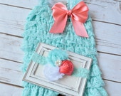 Aqua Romper, Cake Smash Outfit Girls, Baby Girl 1st Birthday Outfit, Cake Smash Outfit, 1st Birthday Girl Outfit, Cake Smash Outfit Girl