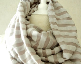 LIX PERLE:  Terry Taupe Cloth Stripes Infinity Scarf, Circular loop tube versatile hood shawl unisex handmade scarf