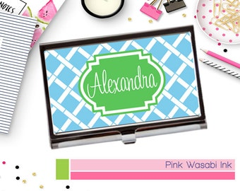 Personalized Business Card Case Monogrammed Business Card Holder Custom Card Case Choose Colors