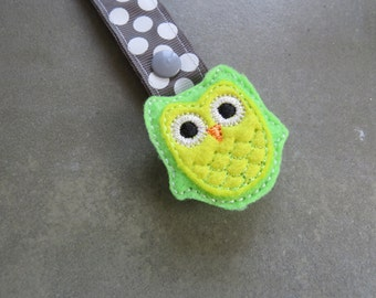 Pacifier Leash Paci Clip - Lime Green and Yellow Owl Feltie Metal Pacifier Clip