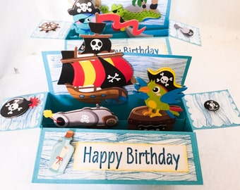 Hand made cards: Pirate Pop Up box card - boys birthday - 3D cards - colorful boy card - alligator - pirate ship