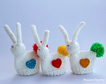 Easter bunny for keeping warm breakfast egg - pdf knitting pattern. Easter pattern. Cozy home