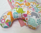 Baby Play Mat Pillow Tummy Time Padded Pillow Prop Up Bolster Comfort Alphabet Animals Pink Shower Gift Daycare Newborn Infant Accessories