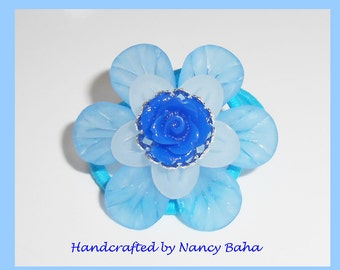 Pretty Blue Flower Pony Tail Elastics, Pony Tail Ties, Girls Hair Accessories, Flower Girl Hair Accessory. Hair Elastics,  PT206