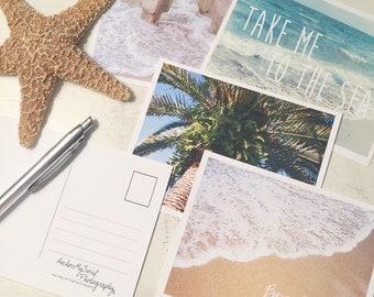 Beach Postcards Set of 4 - Ocean Coast Nautical Sand - Stationary Notecard Letter Mail Photograph Print 4 x 5