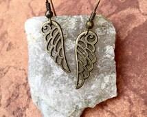 MOVING SALE! Openwork Bronze Tone Angel Wing Dangle Earrings
