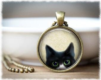 Peeking Cat Necklace • Black Cat Pendant • Cat Jewelry • Cat Lover Gift • Animal Rescue Jewelry