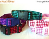 "Sale 50% Off Houndstooth Dog Collar-Red, Purple, Teal, Pink & Salmon  - ""Houndstooth"" - NO Extra Charge for colored buckles"