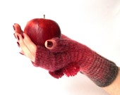 Knit Fingerless Gloves. Knit Short Red and Brown Gloves with Pompons. Knitted Wrist Warmers. Knit Arm Warmers.