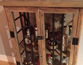 Rustic Iron and Wood Liquor Cabinet with Natural Distressed Finish