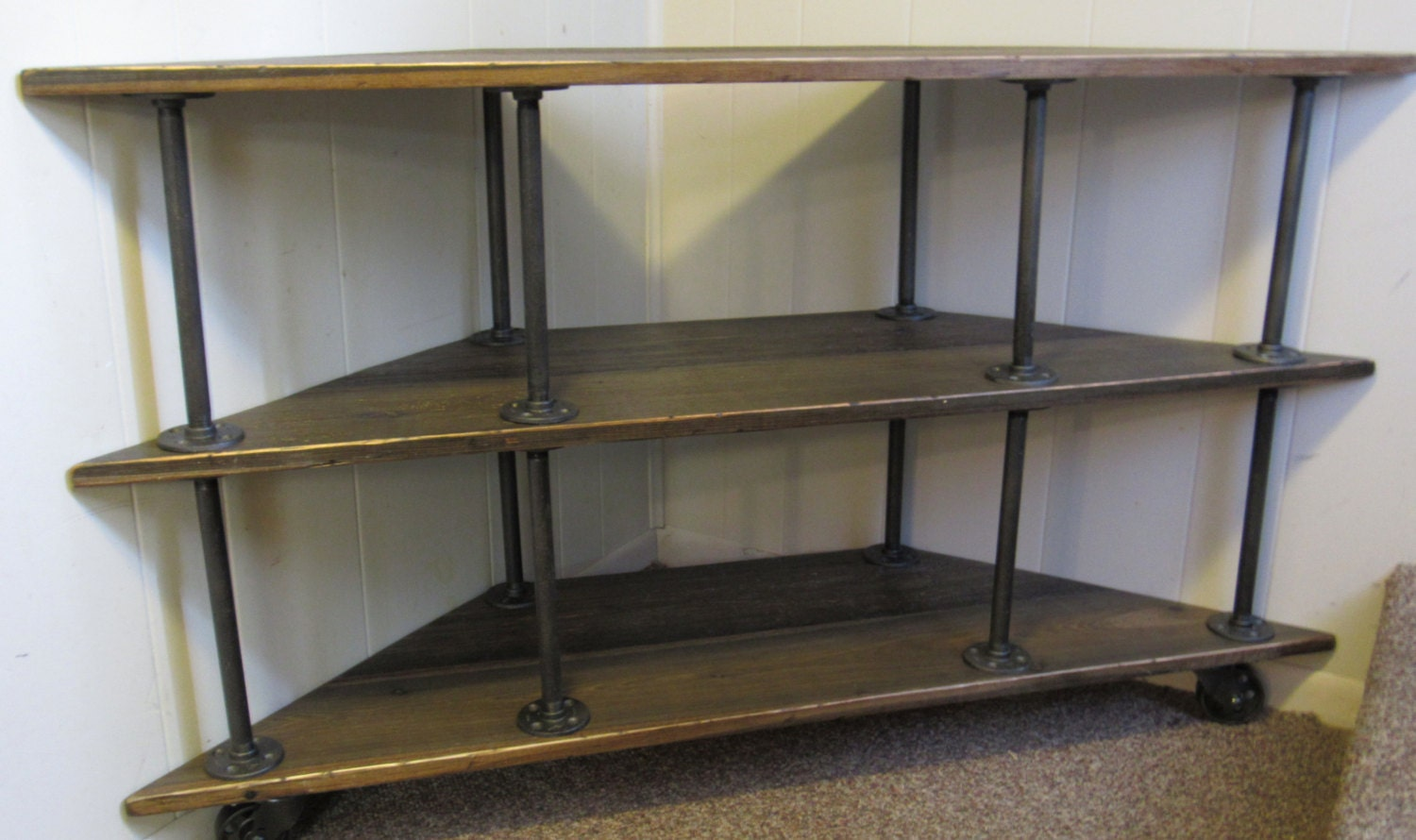 Corner Tv Stand Industrial Iron And Wood For 46 To 52 Tvs