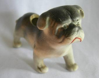 Miniature Pug Type Dog Vase Figurine   Made in Japan   Vintage