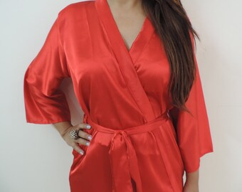 Code: H-11 Satin Solid Color Kimono Crossover patterned Robe Wrap - Bridesmaids gift, getting ready robes, Bridal shower favors, baby shower
