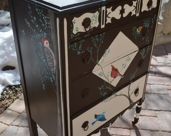 Painted by Me Bird Dresser: Backyard Birds for Kids, Songbird Dresser, Cardinal, Woodpecker, Nuthatch Antique Songbird Furniture, Dovetailed