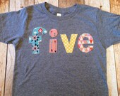 five lowercase 5 year old 5th outfit with damask flowers, pink chevron, green circles, dots  girls mix Triblend Grey Hip Birthday Shirt