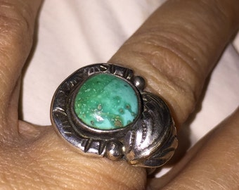 Native American Indian Turquoise Ring Green Turquoise Indian Pawn Southwestern Turquoise Silver Leaf Ring Size 6.25