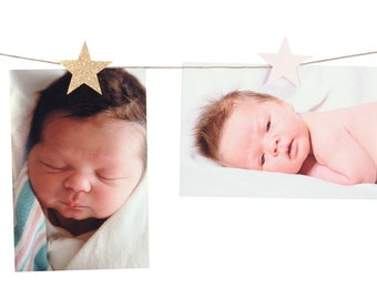 Star Photo Banner Clips - Gold Star Photo Clips - Pink Star Photo Banner Clip - Twinkle Star Photo Banner - Star Shower - Star Birthday