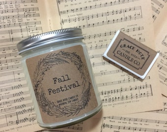 Soy Candle - Soy Wax Candle, Natural Soy Candle in our FALL FESTIVAL Scent, Autumn Soy Candle, Fall Candle