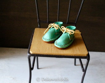 Blythe Doll / Hand made Leather shoes / work boots short/ Turquoise