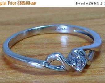 DEADsy LAST GASP SALE White Gold Solitaire Diamond Vintage Engagement Ring, Handcrafted White Gold Engagement Ring size 6 to 7
