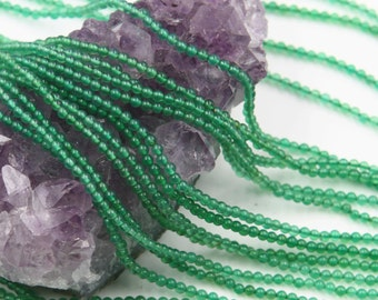 Lot of 5 strands 2mm Green Agate (N) Loose Spacer Beads Round 15.5 inch strand (BD5955)