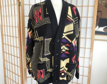 Vintage 80s Coogi Cardigan Sweater in 100% Wool Abstract Andy Warhol Memphis Style