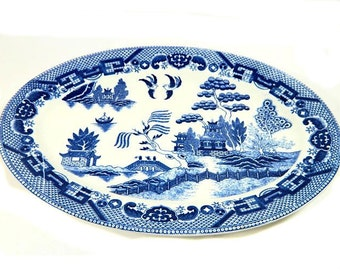 Blue Willow China Oval Serving Platter Japan