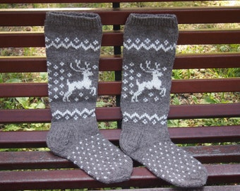 Knitted Wool Socks, Handmade Knitted Knee High Wool Socks, Warm Gift, READY TO SHIP