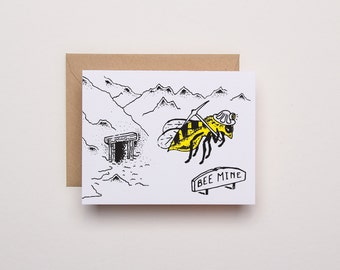 Bee Mine Card - Letterpress Love Card