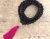 SALE Black onyx mala beads with hot pink tassel; meditation beads; mala beads; yoga accessories