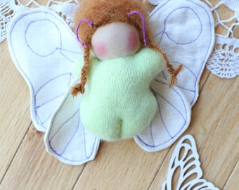 SALE 20% OFF, Wool Ginger Bud Waldorf Pocket Doll, Cashmere and Linen Butterfly