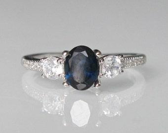 Three Stone Blue Sapphire Ring- Anniversary Ring- Ring for Her- Gemstone Ring- Blue Stone Ring- Stone Ring- Three Stone Anniversary Ring